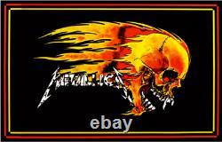 VINTAGE BLACKLIGHT POSTER Metallica Skull Fire Enter Sandman Lars James RARE