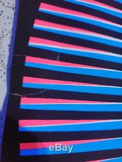 VINTAGE BLACK LIGHT POSTER Blue Pink MANDALA new old stock 1970s Very Trippy
