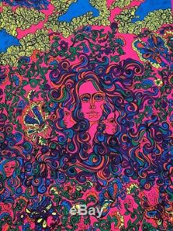 VINTAGE BLACK LIGHT POSTER SWEET CREAM LADIES 1969 NOS Psychedelic Pinup Collage