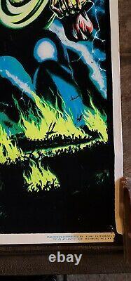 VINTAGE Iron Maiden Number Of The Beast Felt Black Light Poster 1983 Heavy Metal