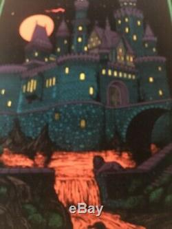 VIntage Black Light POSTER Castle Haunted Mansion 21 By 33