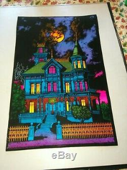 VIntage Black Light POSTER Haunted Mansion Western Graphics 70s Halloween Rare