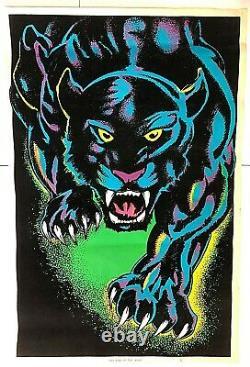 VTG 1970s'King of the Night' Poster #1604 Black Light Panther Jungle Cat Velvet