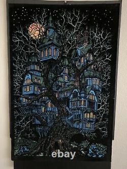 VTG HTF 1970s Tree House Blacklight Poster Western Graphics VTG Halloween Retro