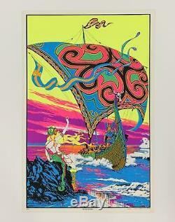 Viking's Return Original 1970s Black Light Poster 23 x 35