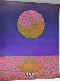 Vintage 1960s Neon Rose Blacklight Poster