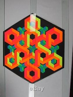 Vintage 1968 Psychedelic Blacklight Poster SNOWFLAKE Clard Svensen The Third Eye