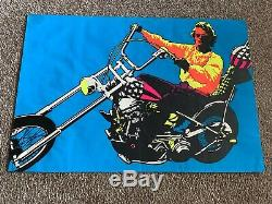 Vintage 1969 EASY RIDER Peter Fonda Black Light Film Movie Poster Psychedelic