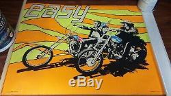 Vintage 1969 Easy Rider Peter Fonda & Dennis Hopper Blk Light Poster Psychedelic