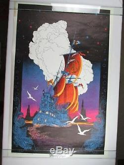 Vintage 1970 FRIENDSHIP FRIGATE Ship Clipper Boat Psychedelic Blacklight Poster