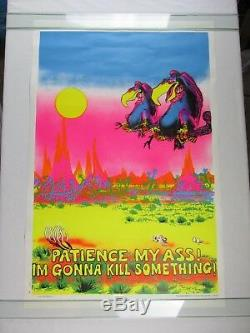 Vintage 1970 Hungry VULTURES Patience My Ass! Gonna Kill Blacklight Poster NOS