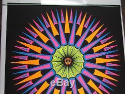 Vintage 1970 Psychedelic PEACE EXPLOSION Blacklight Poster Mark Zadorozny NOS