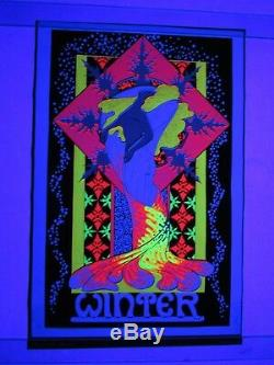 Vintage 1970 Psychedelic WINTER Snowflake Blacklight Poster FUNKY FEATURES NOS