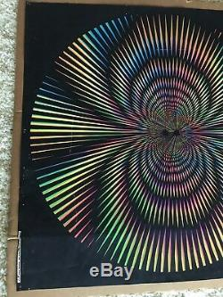 Vintage 1970 TRIPEZE Black Light Poster OP ART Psychedelic Geometric NEON MCM
