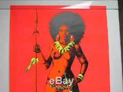 Vintage 1970 WAR QUEEN Beautiful Sexy Naked War Princess Blacklight Poster RARE