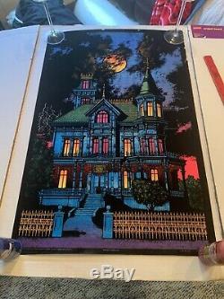 Vintage 1970s Blacklight Ominous Mansion 33 X 21 Poster