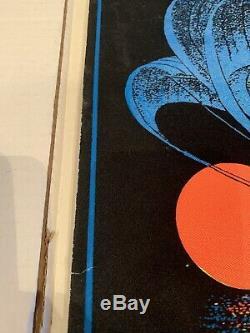 Vintage 1970s Blacklight Poster Moonship Flocked Blacklight Poster Nautical