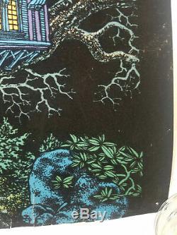 Vintage 1970s Flocked Velvet Black Light Blacklight Poster Tree House