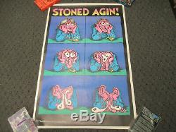 Vintage 1971 R Crumb Stoned Again Blacklight Poster Hippie Headshop Weed Culture