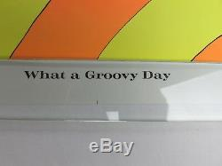 Vintage 1971 WHAT A GROOVY DAY Blacklight Poster Psychedelic Bunny Rabbit NOS
