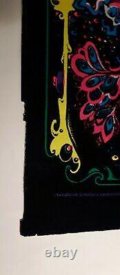 Vintage 1971 black light flocked psychedelic poster Here & There