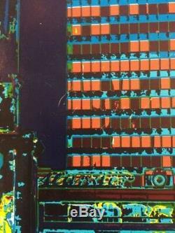 Vintage 1972 Berlin Germany Poster Lithograph Druck Lindemann Ludeck Black Light