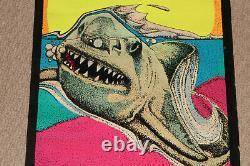 Vintage 1976 Jaws Great White Shark Black Light Felt Dynamic #106 Poster Awesome