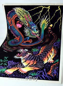 Vintage 1978 Battle To The Death Dragon Vs Tiger Velvet Blacklight Poster New