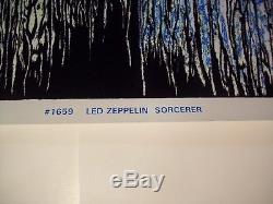 Vintage 1994 Led Zeppelin Black Light Poster Sorcerer 23 X 35 Flocked Velvet