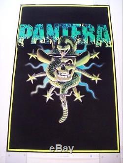 Vintage 1996 Pantera Rattlesnake Skull Black Light Poster 23 X 35 Rare Flocked