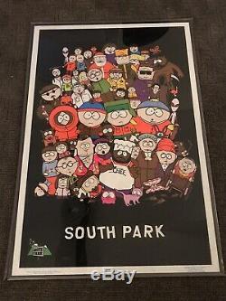 Vintage 1998 Blacklight South Park cast Flocked poster Super Rare