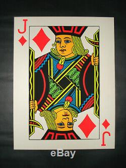 Vintage 60's JACK of DIAMONDS blacklight poster Rare original poker playing card