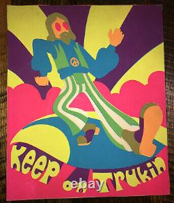 Vintage 60s/70s Black Light Psychadelic Poster Keep On Trukin 14x17 Inches
