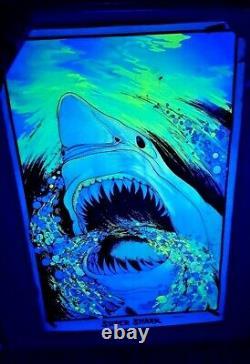 Vintage 70's Flocked Black Light Poster Super Shark Velva Print 1975 Damage