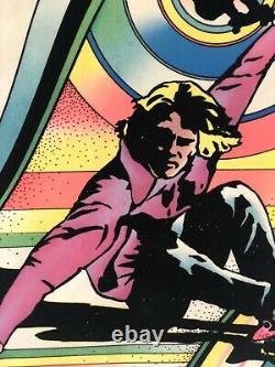 Vintage 70s Felt Psychedelic Black Light Poster Skateboarding