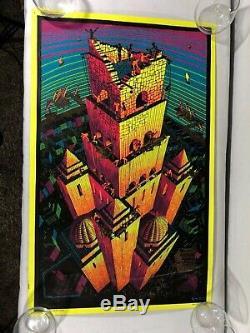 Vintage 70s MC Escher Vintage Psychedelic Blacklight Poster Drugs Trippy Art VTG