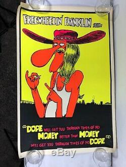 Vintage 70s Weed Black Light Poster Dope Will Get You Through Times Money (Rare)