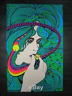Vintage ACID QUEEN blacklight poster Grace Slick pipe Pro Arts 1970 MINT NOS