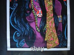 Vintage American GYPSY GIRL blacklight poster Hippie beautiful Peace 1970 NOS