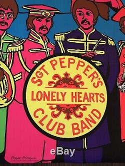 Vintage Beatles Black Light Poster Sgt Peppers Lonely Hearts Club Band 1969