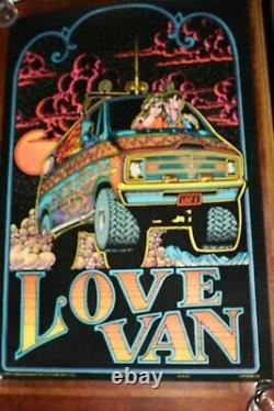 Vintage BlackLight felt Poster 1970s LOVE VAN conversion psychedelic man cave