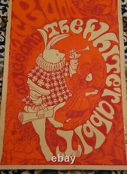 Vintage Black Light Poster 1967 Alice In Wonderland White Rabbit Rare Item