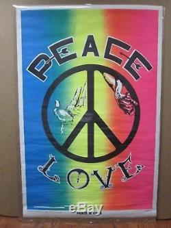 Vintage Black Light Poster 1970 Peace & Love Inv#G1378