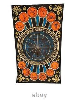 Vintage Black Light Poster 1970's Horoscope Zodiac Signs Insanity Chicago III