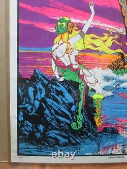 Vintage Black Light Poster 1970's The Vikings Return Inv#G1639