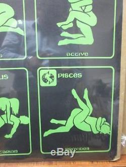 Vintage Black Light Poster 1970's horoscope zodiac signs Inv#G919