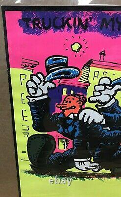 Vintage Black Light Poster 70's Truckin' My Blues Away