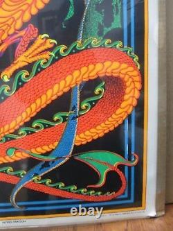 Vintage Black Light Poster Flying Dragon 1970's Inv#G441