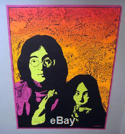 Vintage Black Light Poster Lennon Yoko Innocence is Invulnerable Beatles Roberts