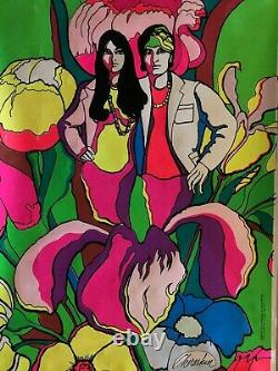 Vintage Black Light Poster Love Chereskn Psychedelic Headshop Pin Up 1960s